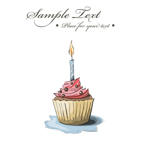 birthday cupcakes: Vector hand drawn greeting card with cupcake Illustration