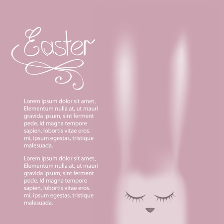 Vector Easter greeting card with pink rabbit Vector