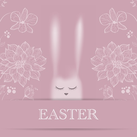 Vector Easter greeting card with pink rabbit Stock Vector - 18540017