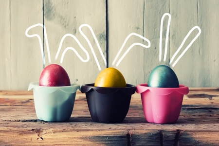 Cute creative photo with easter eggs