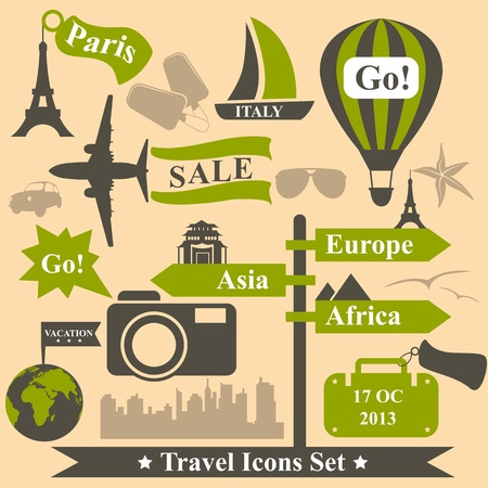 Vintage vector travel icons set Stock Vector - 19559226