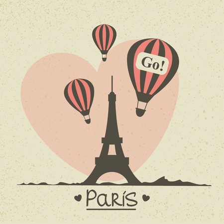 Vector romantic greeting card with Eiffel tower Vector