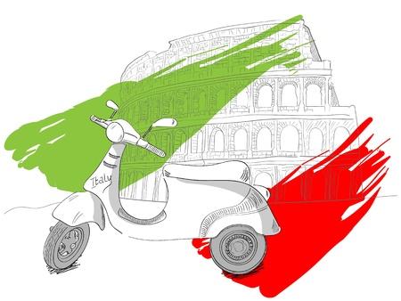 イタリア、ローマのコロッセオのイラスト  イラスト・ベクター素材