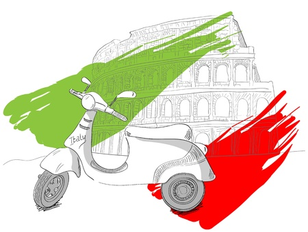 scooters: illustration  of colosseum in Rome, Italy Illustration