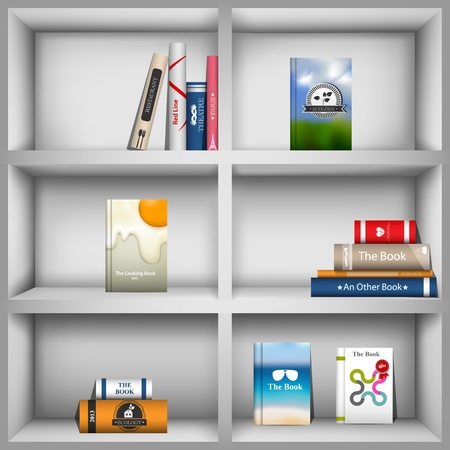 Vector picture with book shelves and books