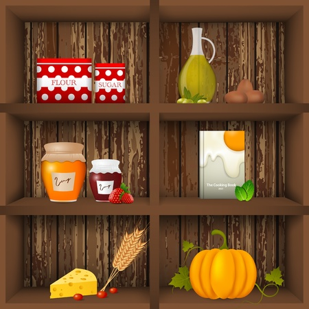 book shelves: illustration of kitchen shelves Illustration