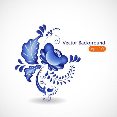 floral elements:  abstract floral web element, gzhel Illustration