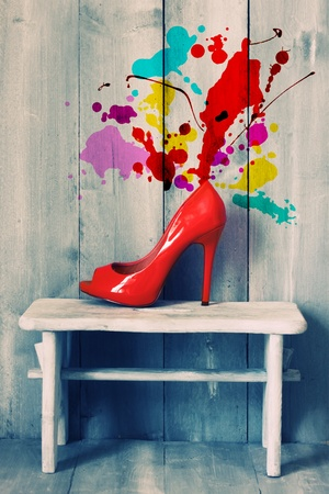Retro photo of red shoes photo