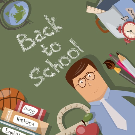 adult classroom: Back to school illustration with text on chalkboard