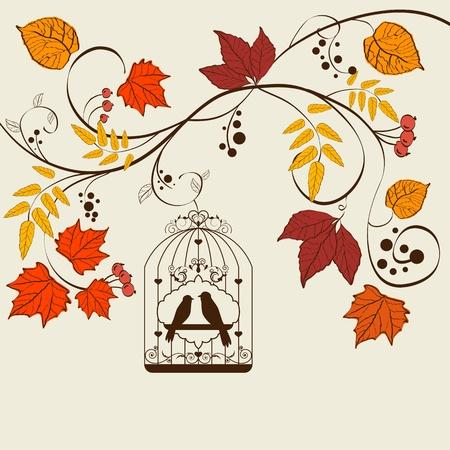bird cage: Vector autumn background design with bird cage