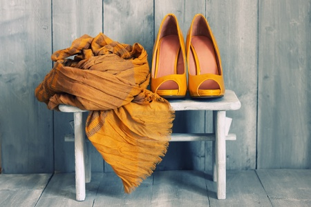 Image of yellow shoes and scarf