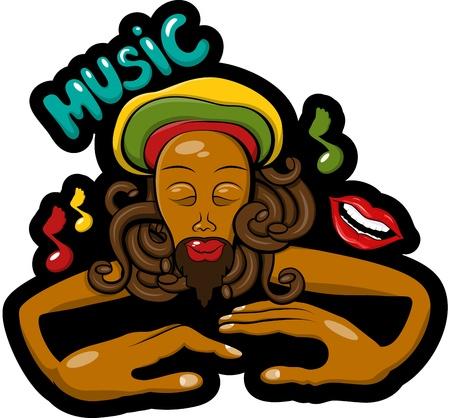 jamaican: Esta es la ilustraci�n vectorial graffitti con rastaman