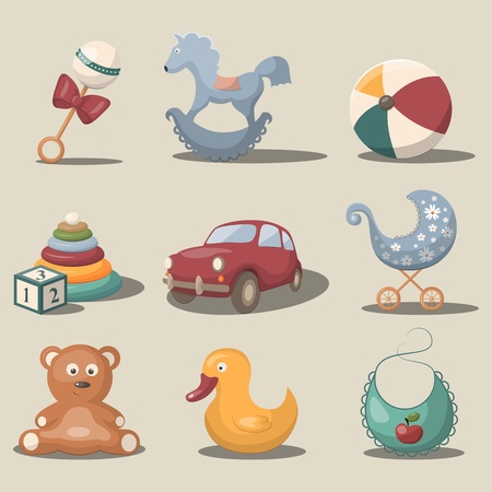 Vector set with toys and accessories for baby Vector