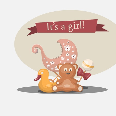 new born baby girl: Vector retro greeting card Its a girl Illustration