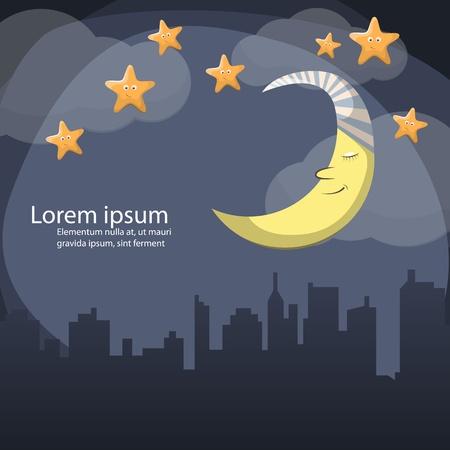bonsoir: Vecteur sc�ne de nuit avec la lune et les �toiles Illustration