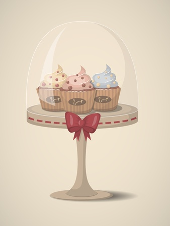 cup cake: Vector illustration with 3 cute cupcake on support