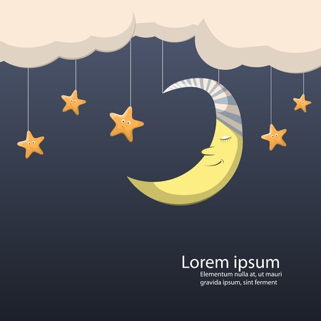 good wishes: night scene with moon and stars