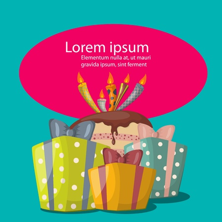 fancy sweet box: illustration with birthday cake and gift boxes Illustration