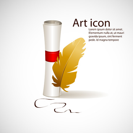 Vector art icon with scroll and feather Vector