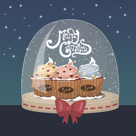 Xmas illustration with 3 cute cupcake on support Vector