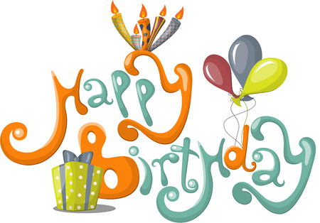 congratulations text: Vector greeting card with Happy Birthday text Illustration