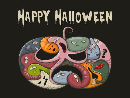 devil fish: illustration halloween pumpkin