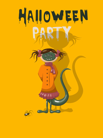 Halloween party invitation with monster Vector