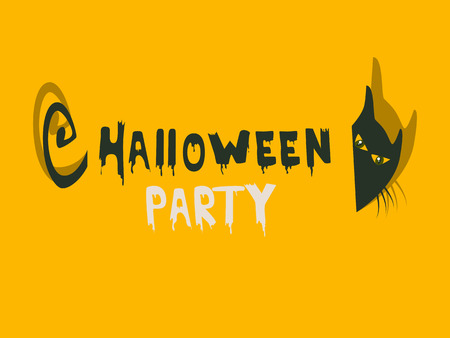 Halloween party invitation with a cat Vector