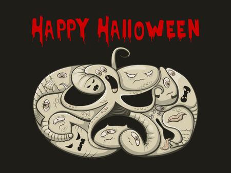 devil fish: Vector illustration halloween pumpkin