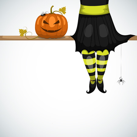 Vector halloween card with witch Vector