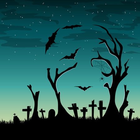 scull: Vector halloween card with trees