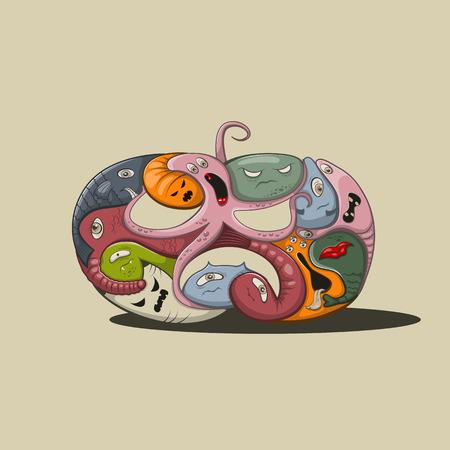 freak: Vector illustration halloween pumpkin