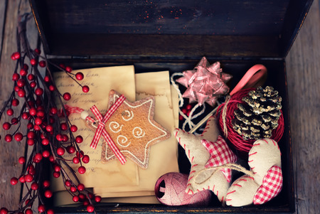 Photo of box with christmas decorations photo