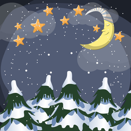 Vector night scene with moon and stars Vector