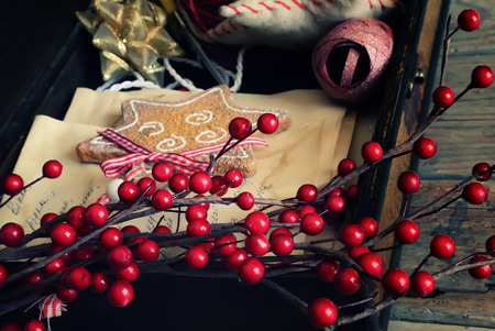 cristmas card: Photo of box with christmas decorations