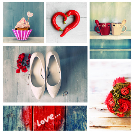 Collage of cute romantic photos photo