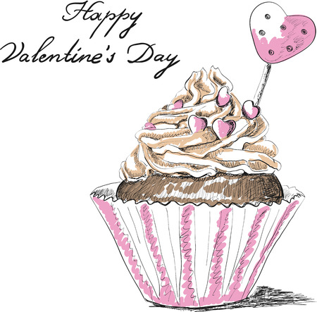 Vector hand drawn greeting card with cupcake Vector