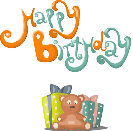 Birthday greeting card  with teddybear, gift and balloons Vector