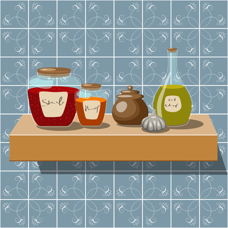 Vector picture of kitchen shelf with bottles and jam jars Vector