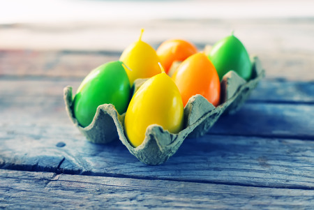 Cute  photo with 6 easter eggs candles photo