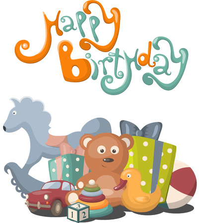 baby gift: Vector greeting card with Happy Birthday text Illustration