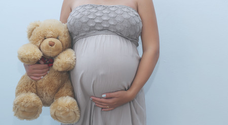 Photo of pregnant woman belly with teddy bear