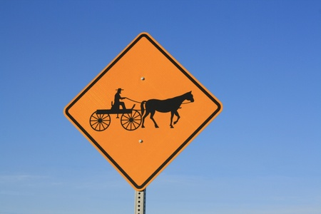 amish buggy: Roadside Warning Sign - Amish Buggies Stock Photo
