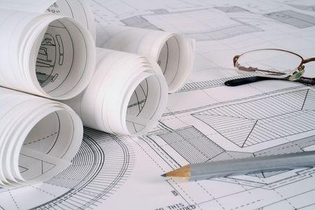 planos arquitecto: Serie de planes de arquitecto Foto de archivo