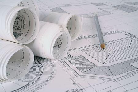 planos arquitecto: Planes de arquitecto  Foto de archivo