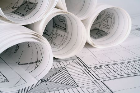 architect drawing: Architect plans Stock Photo