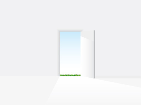 new opportunity: Open door to a new life Illustration