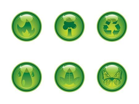 ozone friendly: Ecology icon button series