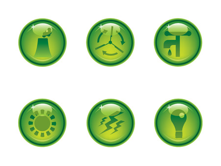 coal power station: Ecology icon button series