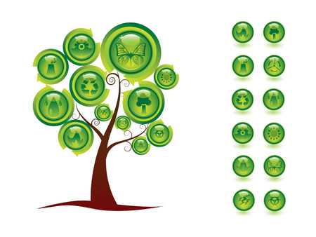 Ecology buttons and tree Vector